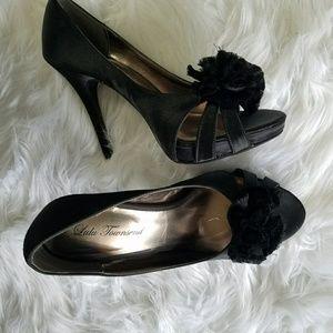 Lulu Townsend black satin Peep Toe heels